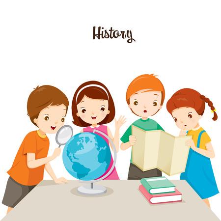 어린이 역사 수업, 학교, 교육, 편지지, 책, 어린이, 지식, 학교 용품, 교육 주제로 다시 일러스트