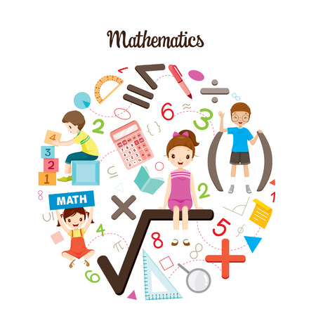 Children With Mathematics Formula, Number And Icons, Back to school, Educational, Stationery, Book, Children, Knowledge, School Supplies, Educational Subject