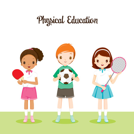 Children With Sport instrument, Back to school, Educational, Stationery, Book, Children, Knowledge, School Supplies, Educational Subject 版權商用圖片 - 55424826
