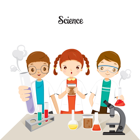 Children In Science Class Experimenting, Back to school, Educational, Stationery, Book, Children, Knowledge, School Supplies, Educational Subject