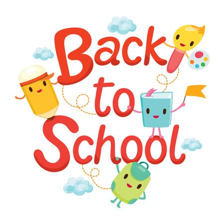 De nuevo a la escuela con letras Caracteres educación, de nuevo a la escuela, Educativo, de papelería, libros, niños, útiles escolares, sin perjuicio para la Educación, objetos, iconos Ilustración de vector