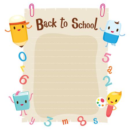 papel de notas: Caracteres de educación, el número y alfabeto en el papel de nota en blanco, de nuevo a la escuela, Educativo, de papelería, libros, niños, útiles escolares, sin perjuicio para la Educación, objetos, iconos