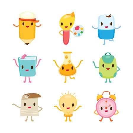 Onderwijs Characters Pictogrammen Ontwerp, Terug naar school, onderwijs, briefpapier, boek, Kinderen, School Supplies, Educational Onderwerp, objecten, Icons