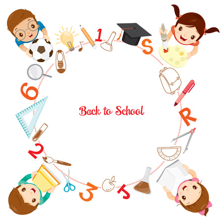 Children With School Supplies Icons On Circle Frame, Back to school, Educational, Stationery, Book, Children, School Supplies, Educational Subject, Objects, Icons Vectores