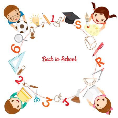 graduacion niños: Los niños con útiles escolares Iconos en marco del círculo, de nuevo a la escuela, Educativo, de papelería, libros, niños, útiles escolares, sin perjuicio para la Educación, objetos, iconos