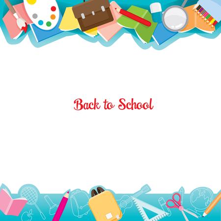 School Supplies Icons auf Rahmen, Zurück zur Schule, Bildung, Briefpapier, Buch, Kinder, Schulmaterial, Unterrichtsfach, Objekte, Icons Vektorgrafik