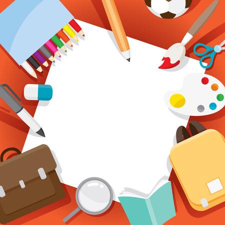 学校用品オブジェクトのフレーム、学校、教育、文房具、書籍、子供、学校用品、教育課題、オブジェクト、アイコンに戻る  イラスト・ベクター素材