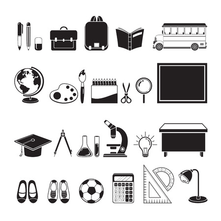 educational subject: School Supplies Icons Set, Monochrome, Back to school, Educational, Stationery, Book, Children, School Supplies, Educational Subject, Objects, Icons