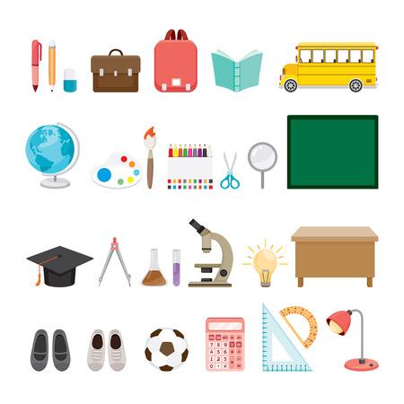 soumis: Fournitures scolaires Icons Set, Retour à l'école, l'éducation, la papeterie, Livre, enfants, fournitures scolaires, l'éducation Sujet, objets, icônes Illustration