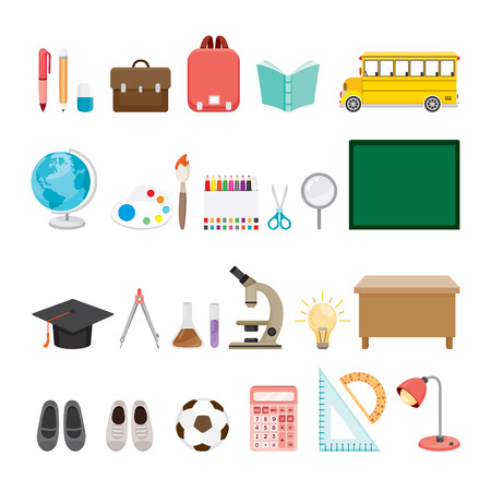educational subject: School Supplies Icons Set, Back to school, Educational, Stationery, Book, Children, School Supplies, Educational Subject, Objects, Icons