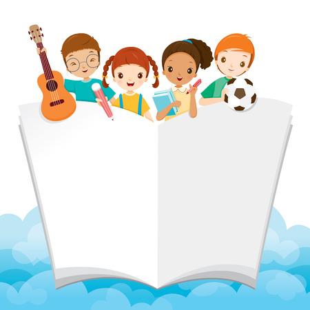 Los niños con útiles escolares y el libro, el día del libro, de nuevo a escuela, educativos, artículos de papelería, libros, niños, fuentes de escuela, sin perjuicio de la Educación, objetos, iconos Ilustración de vector