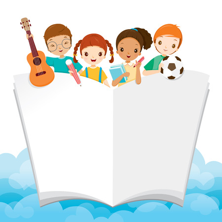 Children With School Supplies And Book, World Book Day, Back to school, Educational, Stationery, Book, Children, School Supplies, Educational Subject, Objects, Icons Illustration