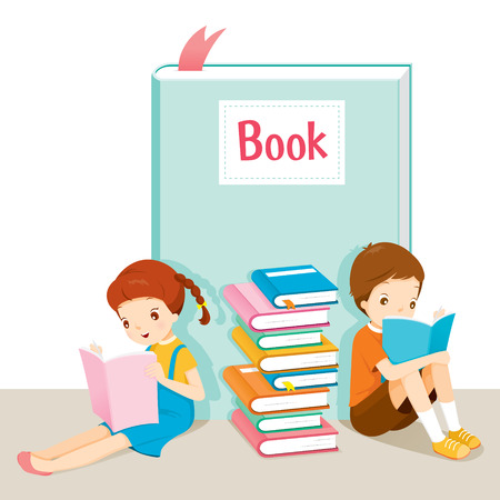 Boy And Girl Reading Book, World Book Day, Back to school, Educational, Stationery, Book, Children, School Supplies, Educational Subject, Objects, Icons Vektoros illusztráció