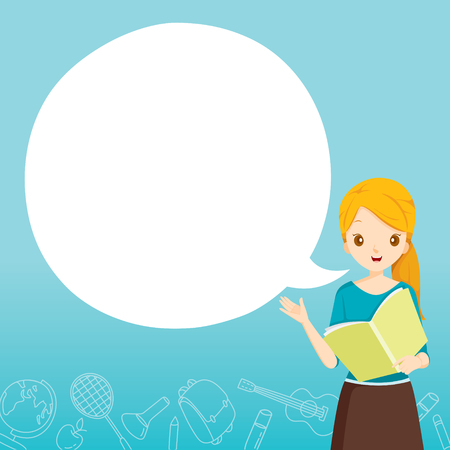 Frauen-Lehrer Unterricht mit Sprechblase, World Book Day, zurück zur Schule, Bildung, Briefpapier, Buch, Kinder, Schulmaterial, Unterrichtsfach, Objekte, Icons Vektorgrafik