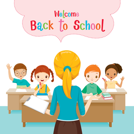 profesores: Recepci�n de nuevo a la escuela con el profesor ense�ar a los estudiantes en el aula, el d�a del libro, de nuevo a la escuela, la Educaci�n, la papeler�a, libros, ni�os, fuentes de escuela, tema para la Educaci�n, objetos, iconos