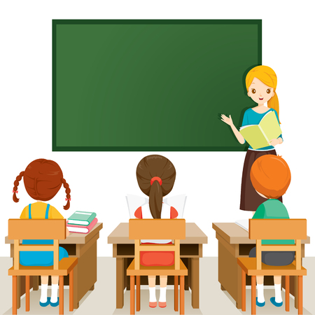 Teacher Teaching Students In Classroom, World Book Day, Back to school, Educational, Stationery, Book, Children, School Supplies, Educational Subject, Objects, Icons Illustration