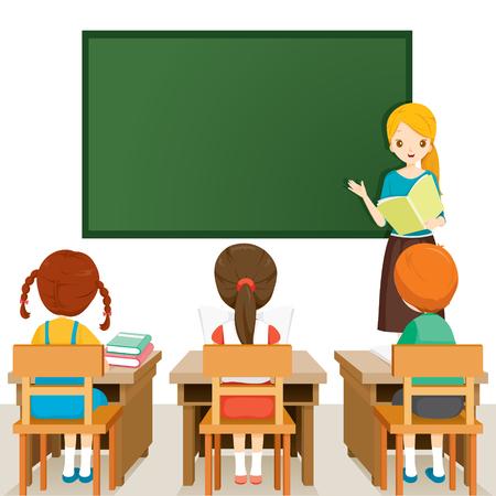 Lehrer Unterricht Schüler im Klassenzimmer, World Book Day, zurück zur Schule, Bildung, Briefpapier, Buch, Kinder, Schulmaterial, Unterrichtsfach, Objekte, Icons Vektorgrafik