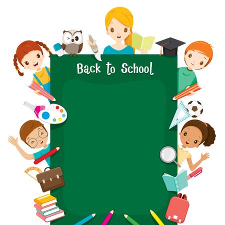 先生、学生とアイコン ラウンド黒板、世界本の日、学校、教育、文房具、書籍、子供、学校用品、教育課題、オブジェクト、アイコンに戻る  イラスト・ベクター素材