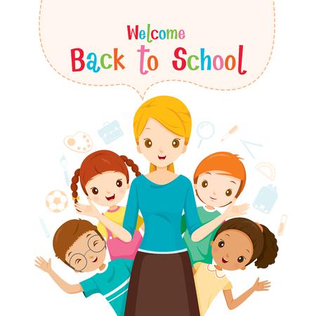 Bentornati a scuola, insegnante, studente e icone, Giornata mondiale del libro, torna a scuola, l'educazione, la cancelleria, libro, i bambini, materiale scolastico, Materia di studio, oggetti, icone