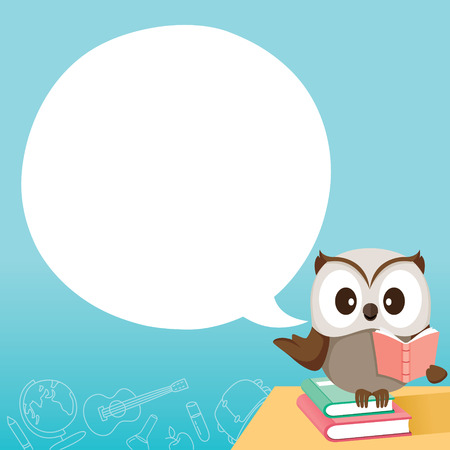 Owl Teaching On Table With Speech Bubble, World Book Day, Back to school, Educational, Stationery, Book, Children, School Supplies, Educational Subject, Objects, Icons