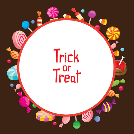 high calorie: Halloween Candy with Trick Or Treat on Round Frame, Mystery, Culture, Holiday, High Calorie Food, October, Fantasy Illustration