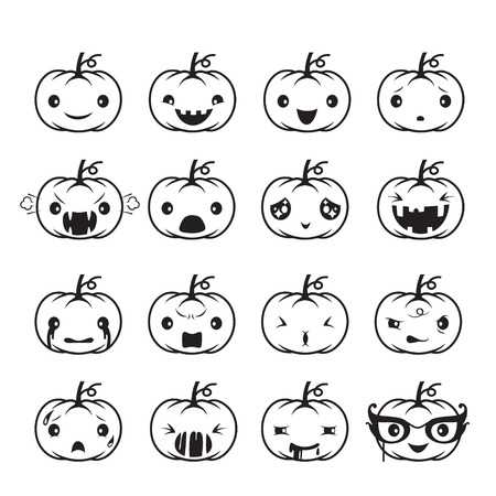 agape: Pumpkin Emoticons Set, Holiday, Mystery, emoji, facial expression, feeling, mood, personality, symbol, October Illustration
