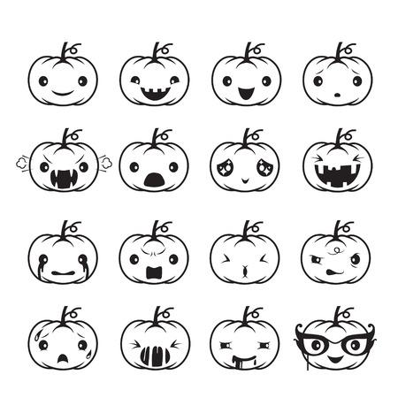 Pumpkin Emoticons Set, Holiday, Mystery, emoji, facial expression, feeling, mood, personality, symbol, October Illustration