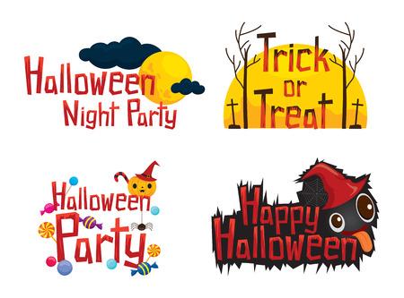 Halloween Texte Design Element Set, Rätsel, Urlaub, Kultur, Oktober, Dekoration, Fantasie, Night Party Vektorgrafik