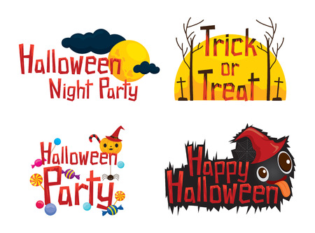 gum tree: Halloween Texts Design Element Set, Mystery, Holiday, Culture, October, Decoration, Fantasy, Night Party Illustration