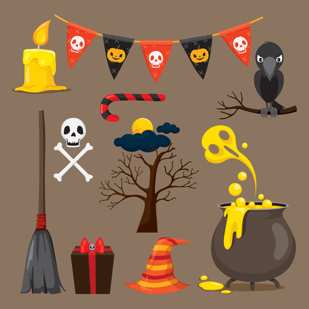 mystery: Halloween Icons Set, Mystery, Holiday, Culture, October, Decoration, Fantasy, Night Party Illustration