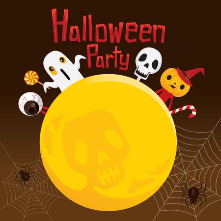 Halloween Ghost on Full Moon, Mystery, Holiday, Culture, October, Decoration, Fantasy, Night Party Векторная Иллюстрация