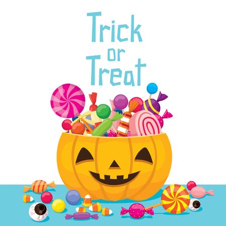 Halloween-Kürbis-Eimer mit Süßigkeiten, Rätsel, Kultur, Urlaub, Hochkalorienreiche Lebensmittel, Oktober, Fantasie Vektorgrafik