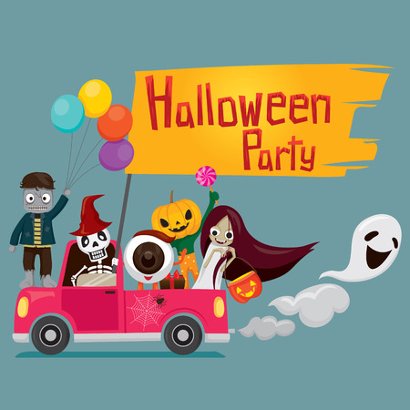 Halloween Ghost on Pickup, Mystery, Holiday, Culture, October, Decoration, Fantasy, Night Party Векторная Иллюстрация