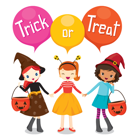 girls holding hands: Halloween Pumpkin Bucket and Girls Holding Hands, Mystery, Holiday, Culture, October, Decoration, Fantasy, Night Party