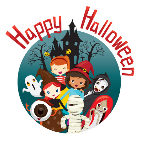 mystery: Halloween Ghosts and Children Smiling, Mystery, Holiday, Culture, October, Decoration, Fantasy, Night Party Illustration