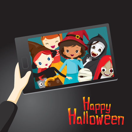 girl happy: Halloween Ghosts and Children Selfie, Mystery, Holiday, Culture, October, Decoration, Fantasy, Night Party