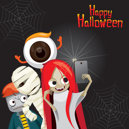 Halloween Ghost Selfie, Mystery, Holiday, Culture, October, Decoration, Fantasy, Night Party Vectores