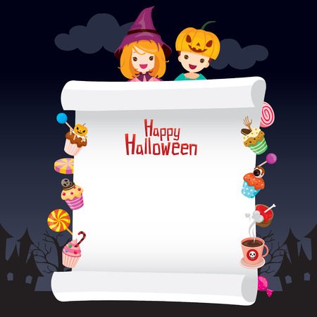 costume party: Children in Halloween Costume with Dessert on Banner, Holiday, Culture, Disguise, Ornate, Fantasy, Night Party