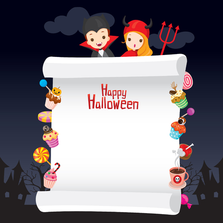 Children in Halloween Costume with Dessert on Banner, Holiday, Culture, Disguise, Ornate, Fantasy, Night Party