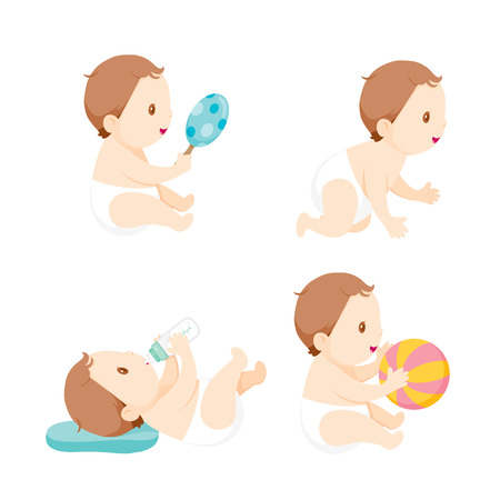 Baby Crawling, Playing And Sucking Baby Bottle, Set, Baby, Infant, Toddler, Crawling, Playing 일러스트