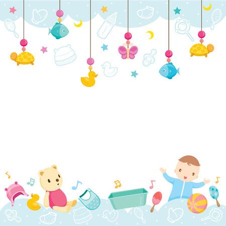 Baby-Icons und Objekte Hintergrund, Baby, Zubehör, Rahmen, Hängen, Hintergrund, Border Vektorgrafik