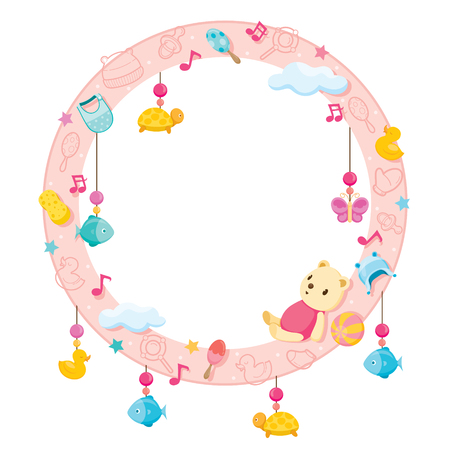 Baby Icons Objects On Round Frame, Baby, Accessories, Frame, Objects, Hanging