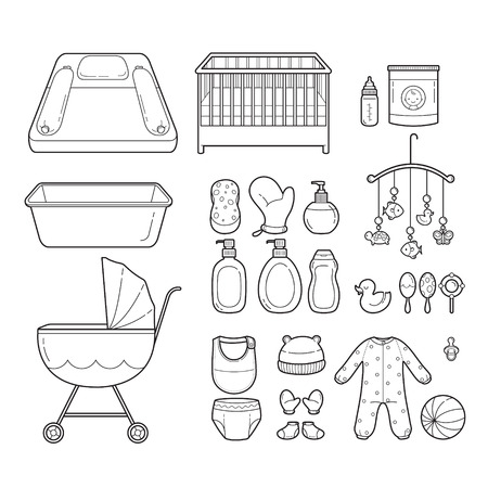 infant: Baby Icons Set, Outline Icons, Baby, Icons, Accessories, Objects, Infant