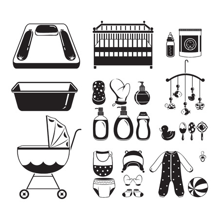 infant: Baby Icons Set, Monochrome, Baby, Icons, Accessories, Objects, Infant
