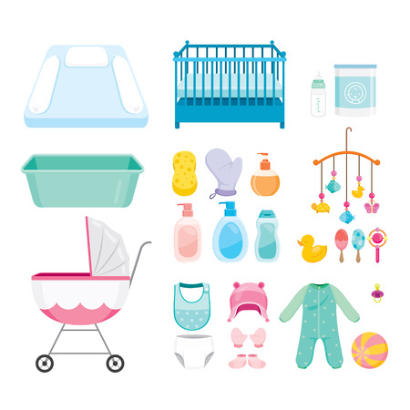 nappy: Baby Icons Set, Baby, Icons, Accessories, Objects, Infant