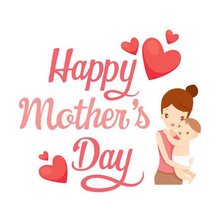 ハッピー母の日、テキスト、赤ちゃん、お母さん、レタリング