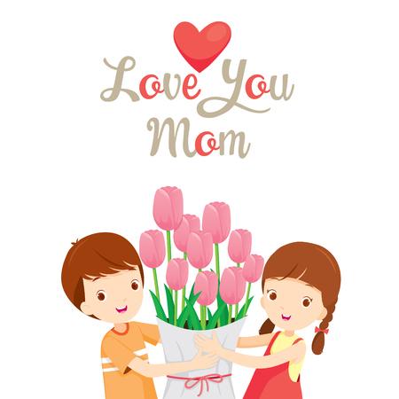お母さん、母の日、チューリップ、愛、赤ちゃんを与えることはあなたを愛してください。  イラスト・ベクター素材
