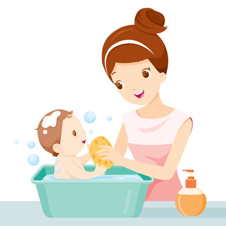 Mother Washing Baby, Mother, Baby, Bathing, Washing, Mothers Day Illustration