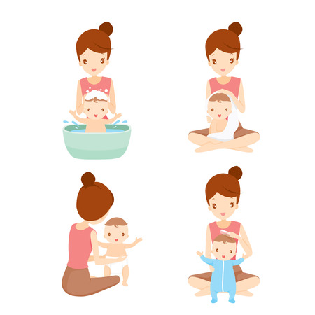 baby and mother: Mother Washing Baby Set, Mother, Baby, Bathing, Washing, Mothers Day Illustration