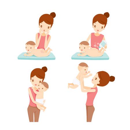 Matki I Dziecka Set, Matka, Dziecko, Wysypka, Dzień Matki, Puder dla niemowląt Ilustracje wektorowe
